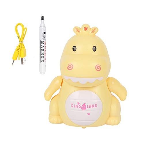 NarutoSak Mini Dinosaur Robot Pen Inductive Vehicle with LED Music Education Kids Toy Gift Christmas Birthday for Children Yellow