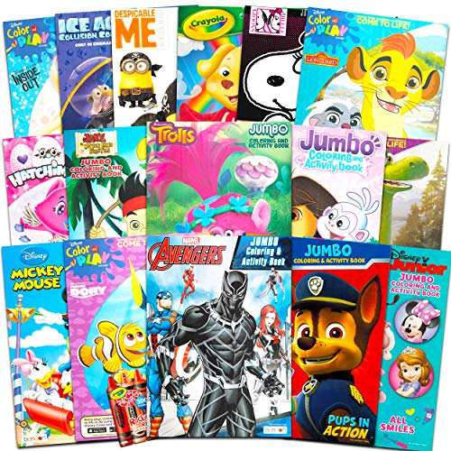 16 Bulk Coloring Books for Kids Ages 4-8 – Assortment Includes with Games Puzzles Mazes and Stickers No Duplicates