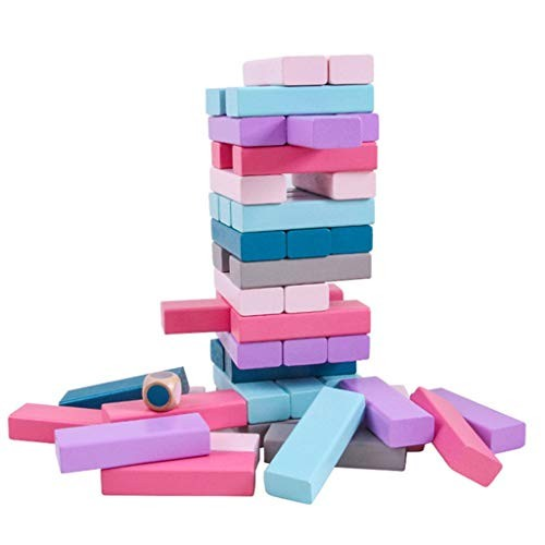 POOYA 48pcs Wooden Tumble Tower Game Building Blocks Stacking Toy Board for Kids and Adults As shown1