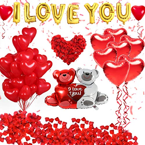 Golray 40 Pack I Love You Balloons and Heart Kit with 1000 Pcs Dark-Red Silk Rose Petals Wedding Flower Decoration Love-Bear Red for Valentine Day Party Decorations