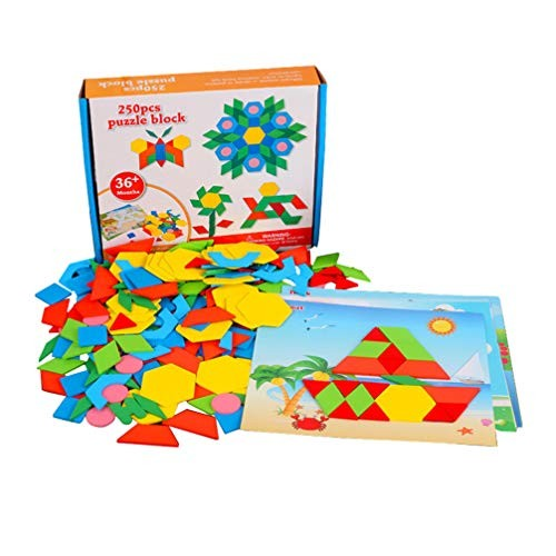 NUOBESTY 250Pcs Wooden Jigsaw Puzzle Toys Building Blocks Tangram for 2-6 Years Educational Gifts
