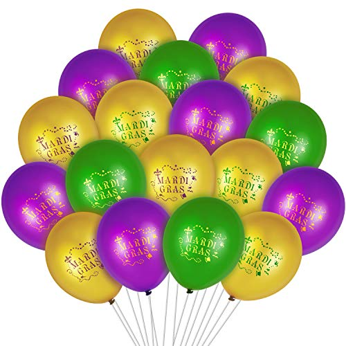 60 Pieces Mardi Gras Balloons 12 Inch Latex Purple Green Gold for Themed Parties Supplies