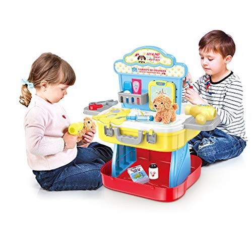 Miklan 3 in 1 Petend Play Tool Workbench Building Toys & Pet Care Set Suitcase for Kids