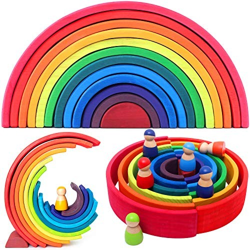Vigeiya Wooden Rainbow Stacking Toy Color Sorting Toys Large Stacker Building Blocks Early Educational for Kids Toddlers x-Large