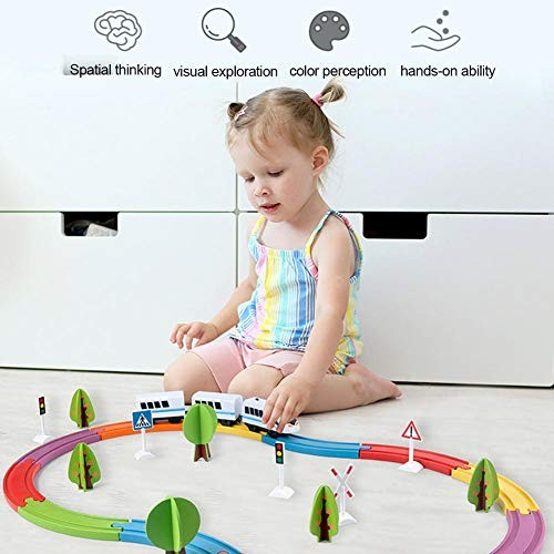 Fasteer Boys and Girls Electric Toy Train Children's Wooden Kit Magnetic Puzzle Assembling Building Blocks Toys Very Suitable for Children to Exercise Their Imagination here