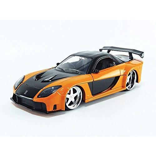 Han's Mazda RX-7 Orange and Black Fast & Furious Movie 1/24 Diecast Model Car