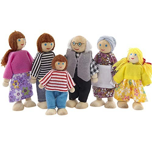Anyren Doll Family of 6 Poseable Wooden Joints Doll Dollhouse Furniture Dolls Family Miniature