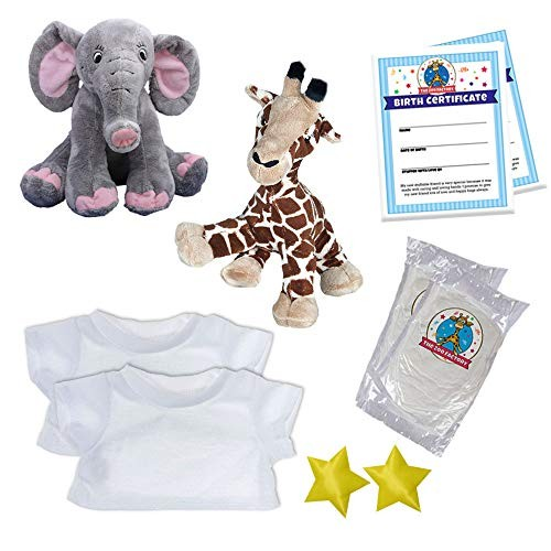 The Zoo Factory Elephant & Giraffe Make Your Own Stuffed Animal w Bonus T-Shirts No- Sew 8 Inch