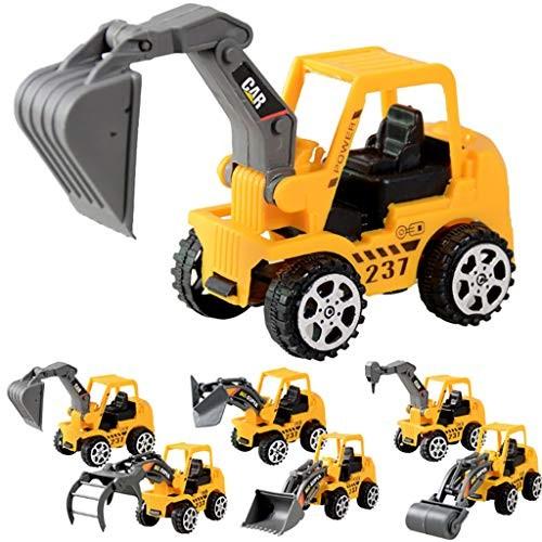 Mintuse 6 Pcs Mini Engineering Vehicle Set Play Vehicles Construction Truck Cars Toys Friction Powered Push Yellow