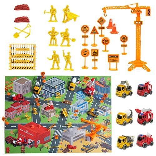 Mintuse Engineering Truck Fire Car with Mini Figure Game Pad Road Sign Hanging Tower Accessories Construction Site Multicolor