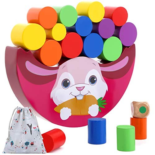 Vigeiya Wooden Stacking Building Blocks Color Sorting Educational Toys for Toddlers with Storage Bag