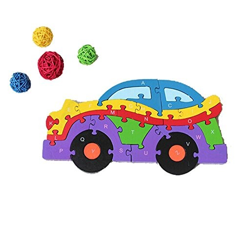 Pentaero Car Puzzle Baby Kids Training 26 Alphanumeric Cognitive Building Blocks Wooden Puzzles for Children Early Learning Preschool Educational As Shown