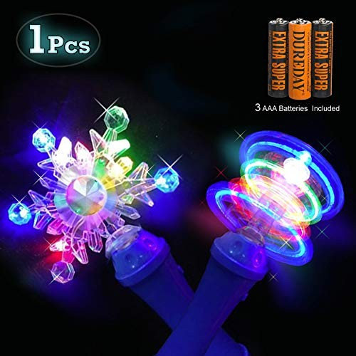 Colorful Snowflake 10 Inch Spinning Wand with 6 LEDs Spectacular Light Show Multi-Color Flashing LED Toy w ON Off Switch for Boy Girl Party Favors Gift Batteries Included Blue