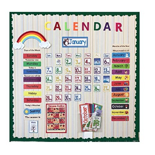 148PCS Set Date Month Holiday Calendar Time Wall Solar Term Weather Management Kids Learn English Cards for Children