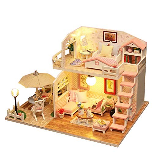 Anniston Dollhouse Furniture DIY Puzzles Miniature Doll House Model Wooden Building Blocks Toys Playset Set for Toddlers Girls and Boys