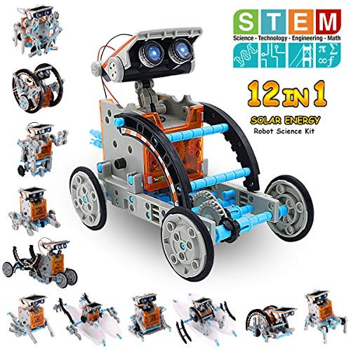 Pakoo Solar Robot Kit 12-in-1 Educational STEM Toys Powered Building DIY Science for 8-10+ Year Old Boys & Girls to Build Birthday Gifts