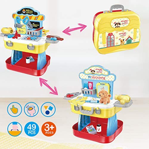 Shan-s Suitcase Playset 3 in 1 Pretend Play Tool Workbench Building Toys & Pet Care Dress Up Gift Kitchen Playse for Kids Toddler Boys and Girls Festival Christmas New Year