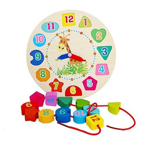 ierkag Kids Clock Building Blocks Toy Cartoon Children Wooden Puzzle Animal Toys