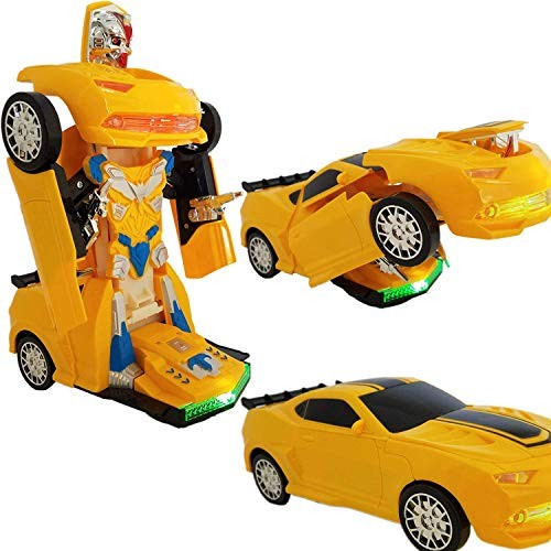 Battery Operated Bump and Go Transforming Toys for Kids -Auto Transforming Auto Robots Action