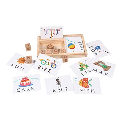 yuanhaourty Baby Wooden Stacking Counting Toy Spelling English Word Game Building Blocks Letters Kidsft