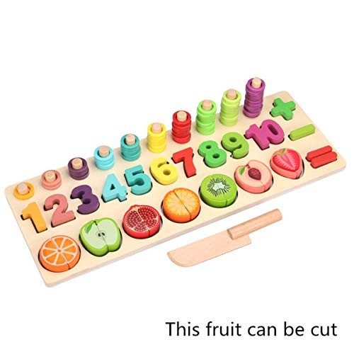 Yuanhaourty Montessori Preschool Learning Toys Math CountingSorting Puzzles Wooden Building Blocks for Toddlers Kids