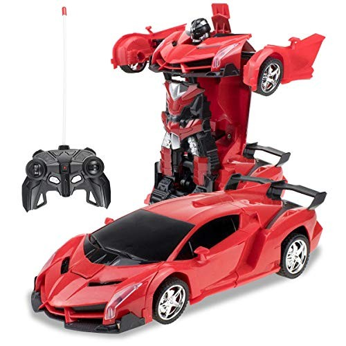 karsiqi Deformation Car for Kids Remote Control Transform Robot Toys Children Boys & Girls Electronic RC with One Button Transformation 1 18 Scale Red