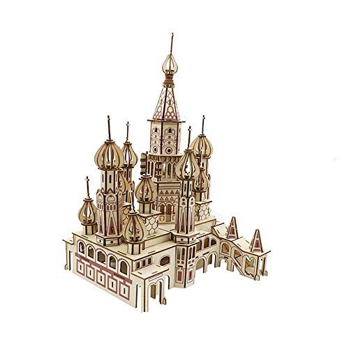 Wooden Puzzle Stereoscopic 3D Model Intelligence Toy DIY Spelling Building Block Castle Laser Cut Construction Set Assembly – Creative Gift for Kids and Adults