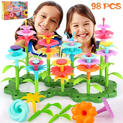 SAVITA 98 pcs Girl Gifts Flower Stem Garden Building Toys Bouquet Sets Play Tool Birthday for Kids Age 3456 Year Old