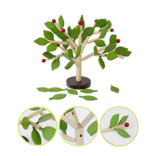 1set Creative Wood Building Blocks Tree Set Wooden Assembled Toy Educational for Kids Green Leaf