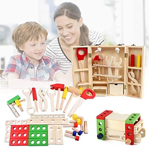 Per Newly Wooden Pretend Play Toy Tool Box Stacking Block Building Set