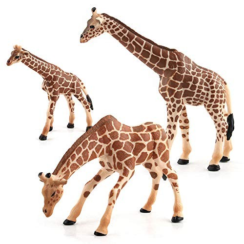 Hibon Giraffe Family Model Simulated Figurine Realistic Plastic Wild Animals for Collection Science Educational Props Set of 3