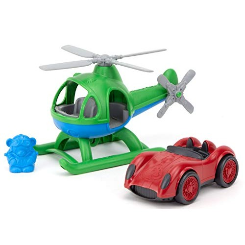 Green Toys Helicopter & Race Car (Red) Set