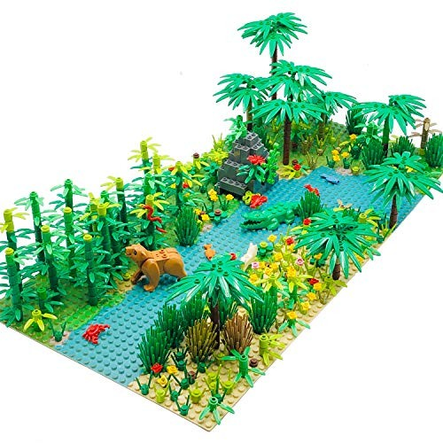 Forest Garden Building Sets PartsPlants Trees Flowers Scenery Accessories Animals Bricks Toy Set Compatible with All Major Brands 2 Pieces 10 Base Plates