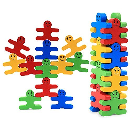 Wooden Stacking Game Balance Villain Blocks Colorful Building Toys Set Balancing for Toddlers Kids Adults 16 Pieces