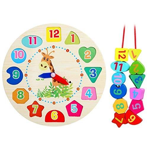 Cartoon Children Wooden Puzzle Toy Kids Animal Clock Building Blocks Activity Play Centers Multicolor