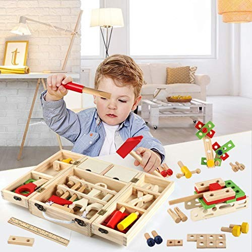 Fasteer Wooden Pretend Play Toy Tool Box Stacking Block Building Set kindhearted Premium
