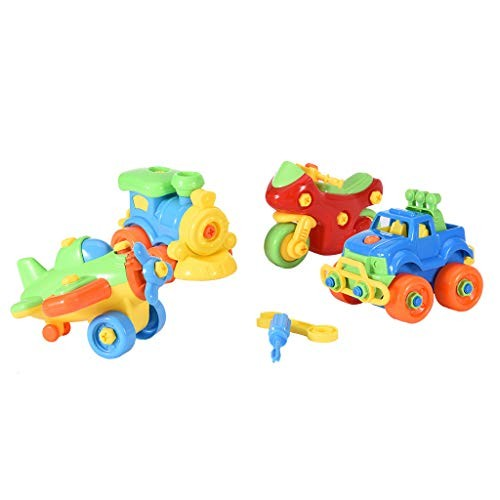 Yuege Take Apart Toys Set – 4 Pack Airplane Toy Train Racing Car for Kids Stem Learning Educational Construction Tool Engineering Boys & Girls Ship from US