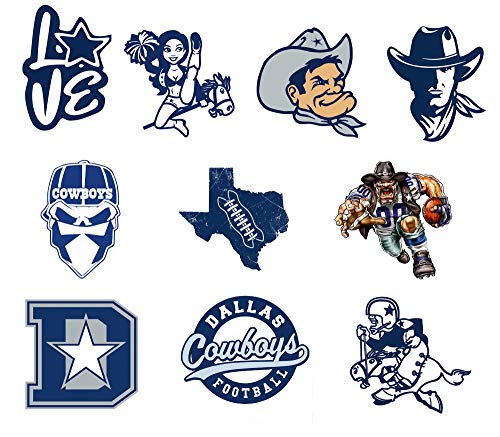 Kilmila Cowboys stickers-10 Pcs- Football Car Bumper Stickers Truck Laptop tumblers Team Colors 4'' x