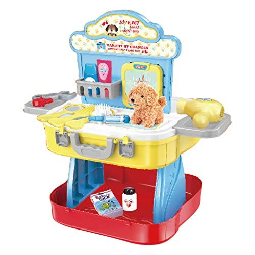Mictiona Suitcase Playset 3 in 1 Pretend Play Tool Workbench Building Toys & Pet Care Dress Up Gift Kitchen Playse for Kids Toddler Boys and Girls Festival Christmas New Year