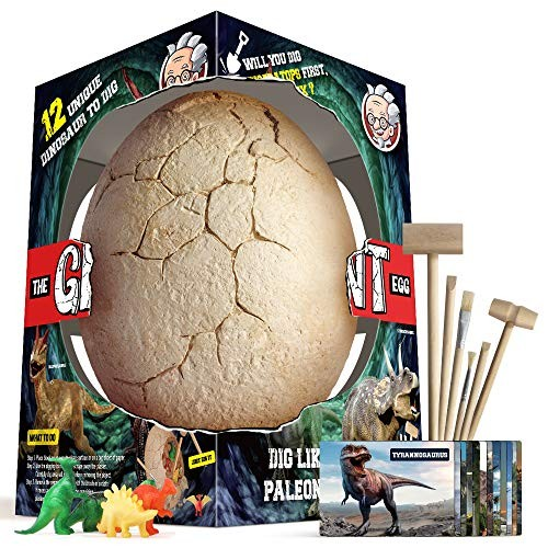 xxTOYS Dino Egg Dig Kit Dinosaur Eggs The Giant with 12 Different Toys for 5 Kids 6 Digging Tools Party Archaeology Paleontology Educational Science Gift