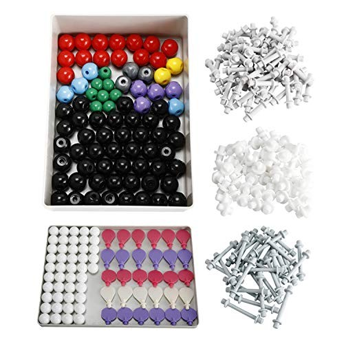 YaeMarine 307Pcs Labs Molecular Model Kit Chemistry Study Aid Set with User Guide 126 Atoms & 30 Orbitals 150 Links Short Link Remover Tool
