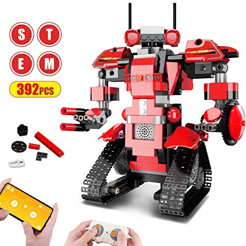 Aukfa Building Blocks RC Robot App Controlled Toy Remote Control STEM DIY Robotics Rechargeable Electronic Robots Funny Gift for 8+ Year Old 392 Pcs