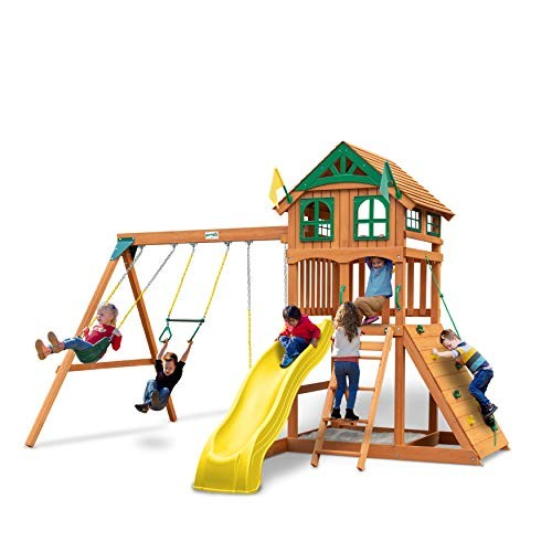 Gorilla Playsets 01-1063-Y Outing Wood Swing Set with Wood Roof & Yellow Slide Amber