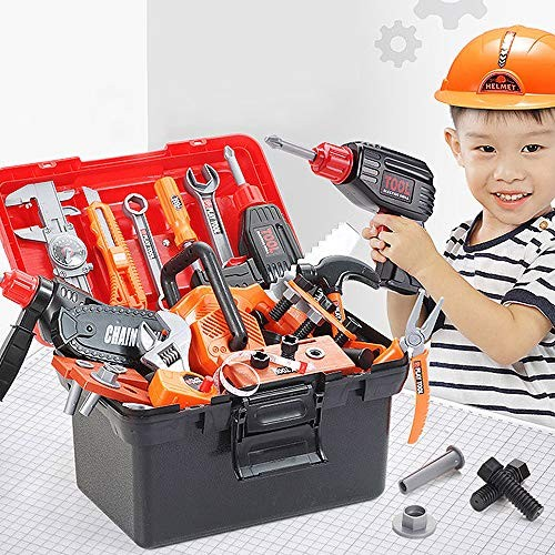 JIASHU Toy Kids Tool Workbench 42 Pieces King Size Power Bench Construction Set with Tools Drill Toddlers for Boys