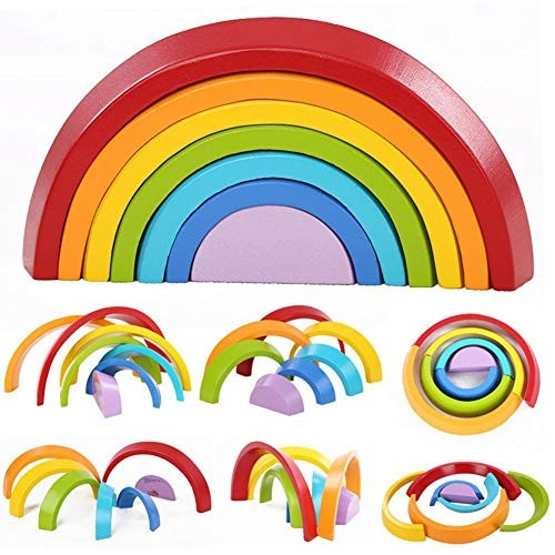 LEEaccessory Wooden Building Blocks Rainbow Educational Toys Geometry Puzzle for Kids Toddler Baby