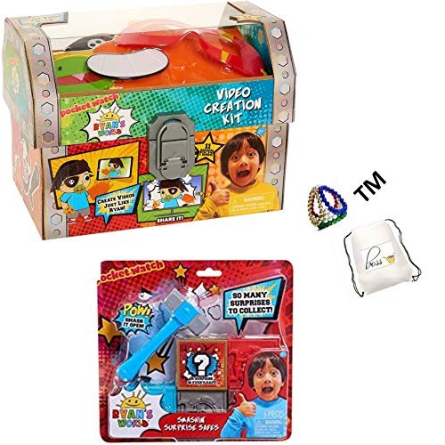 POG Private Labeled Kids Boys Ryan World Bonus Exclusive Al La Frantiea TM Smashin' Surprise Safe Safes So Many to Collect Ryan's Video Creation Kit and Toy Bundle