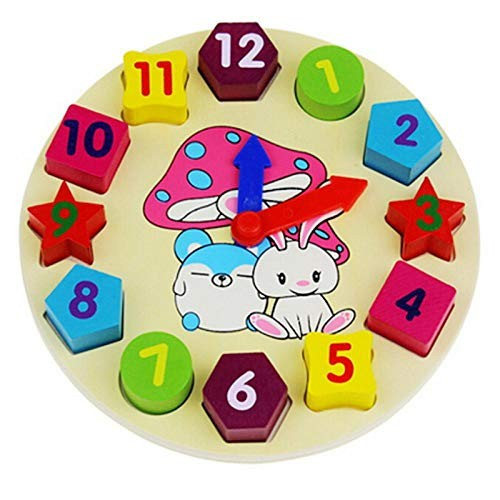 Building Blocks Toy Colorful Shape of Wooden Clock Digital Geometry for Children Baby Kid Education Toys Gifts