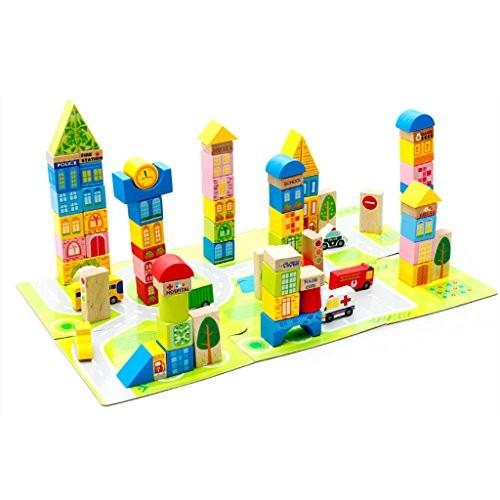 WAWDZG YS Children's Building Blocks Toys Large Wooden 100 Pieces of Urban Traffic Assembling Baby Intelligence Enlightenment Preschool