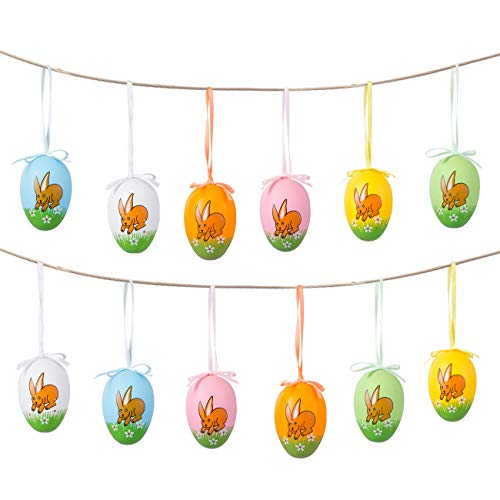 Naler 12 Pcs Easter Eggs Hanging Ornaments Plastic Printed Bright Bunny with Ribbon Hanger for Hunt Basket Stuffers Fillers Party Favors 6 Colors 2 1 2 Tall