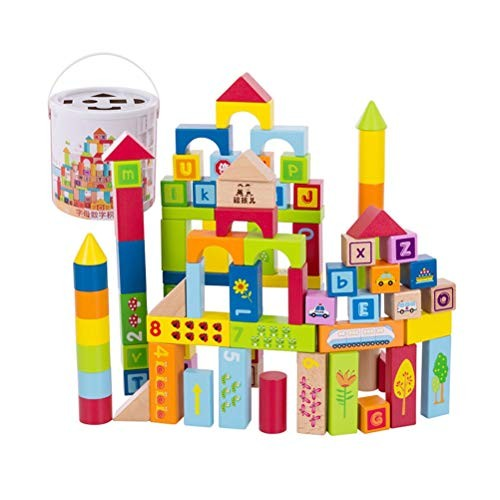 GAO SHOP Wooden Toy Large Particle Building Blocks Puzzle Assembling Toys Baby Children's Solid Wood Creative Birthday Present with Storage Bucket Size 90 Blocks
